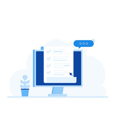 computer and checklist pc with paper document vector image