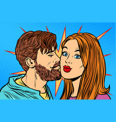 Couple man kissing woman vector