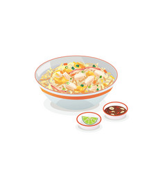 Crab fried rice vector