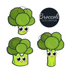 cute broccoli characters set vector image