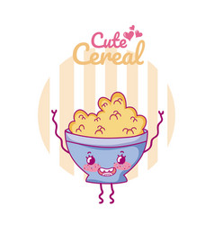 Cute cereal bowl kawaii cartoon vector