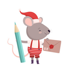cute mouse in christmas santa claus costume vector image