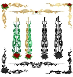 Decorative pattern and weapons vector image