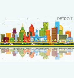 Detroit michigan city skyline with color vector