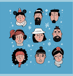 different winter faces collection girl boy man vector image