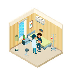 doctor and patient medic standing near bed of vector image