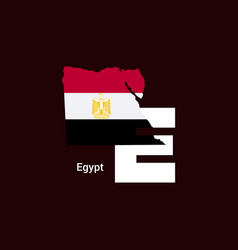 egypt initial letter country with map and flag vector image
