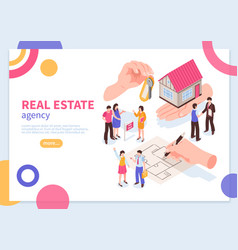 estate agency isometric concept banner vector image