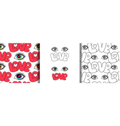 Eyes and love seamless patterns set vector