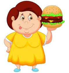 Fat girl cartoon smiling and ready to eat a big ha vector image