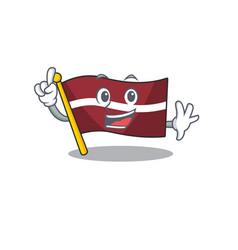Finger cartoon flag latvia in with mascot vector