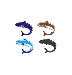 fish logo template creative symbol fishing club vector image