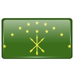 Flags Adygea in the form of a magnet on vector