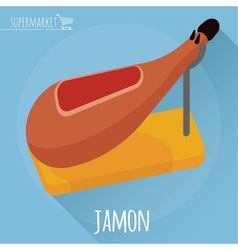 Flat design jamon icon vector image