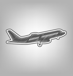 Flying plane sign side view pencil vector