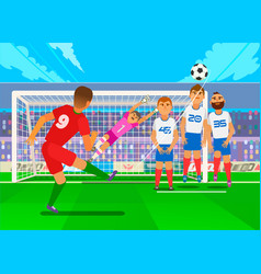 Free kick in football national teams in the vector