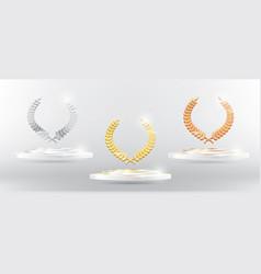 gold silver bronze laurel wreath on platform vector image