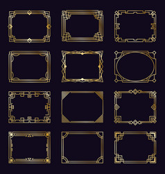 golden art deco frames modern gold elegant vector image