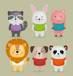 group of cute animals vector image