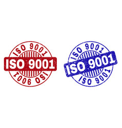Grunge iso 9001 scratched round stamp seals vector