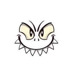 Halloween ghost spooky emoji with predatory smile vector