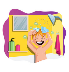 Happy boy taking a bath on white background vector