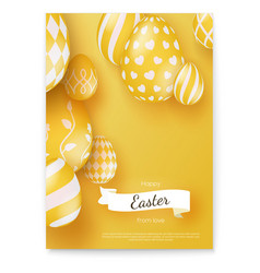 Happy easter wishes on holiday poster in vector