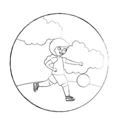 happy little boy playing with soccer ball vector image