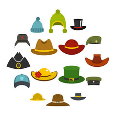 Headdress hat icons set in flat style vector
