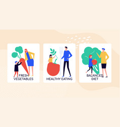 Healthy eating habits colorful banner vector