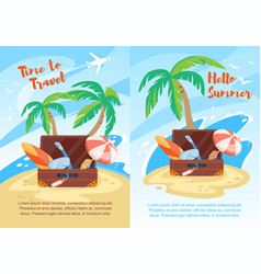 hello summer time to travel vertical banners set vector image