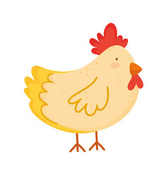 Hen poultry farm animal isolated icon on white vector