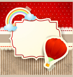 hot air balloon and rainbow over cardboard vector image