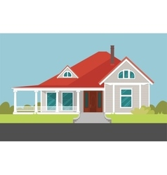 House with red roof Mansion vector image