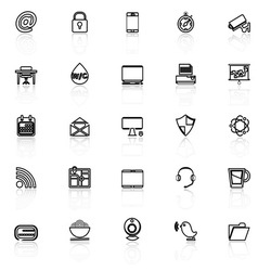 Internet cafe line icons with reflect on white vector