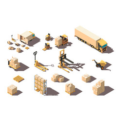 isometric 3d set big and small shipment truck with vector image