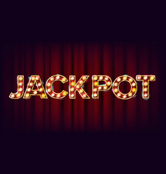 Jackpot banner casino shining light sign vector