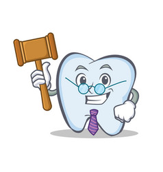 Judge tooth character cartoon style vector
