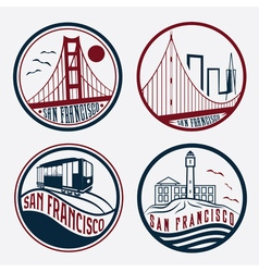 landmarks of San Francisco vintage labels set vector image