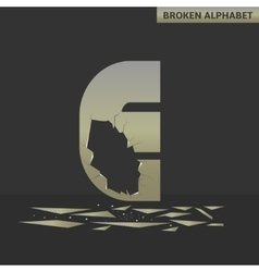 Letter E Broken mirror vector