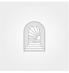 Line art door logo design with ocean wave icon vector