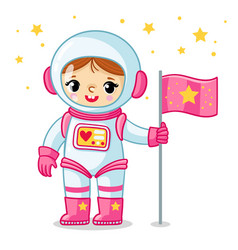 Little cosmonaut girl in a spacesuit holds a flag vector