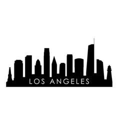 los angeles skyline silhouette black los angeles vector image