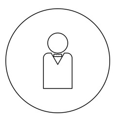 man with bow tie black icon outline in circle vector image