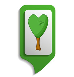 Map sign heard tree icon cartoon style vector