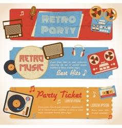 Music retro banners vector