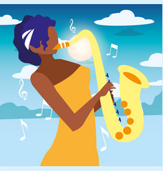 Musician woman saxophone playing music vector