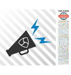 Nem megaphone alert flat icon with bonus vector