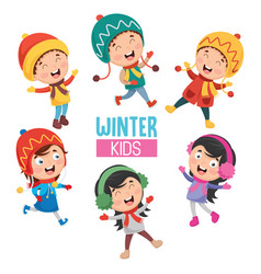 of winter kids vector image