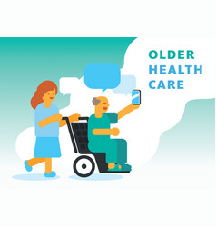 Older health care with nurse vector